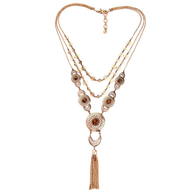 Alloy Multilayer Tassels Retro Women's Necklace
