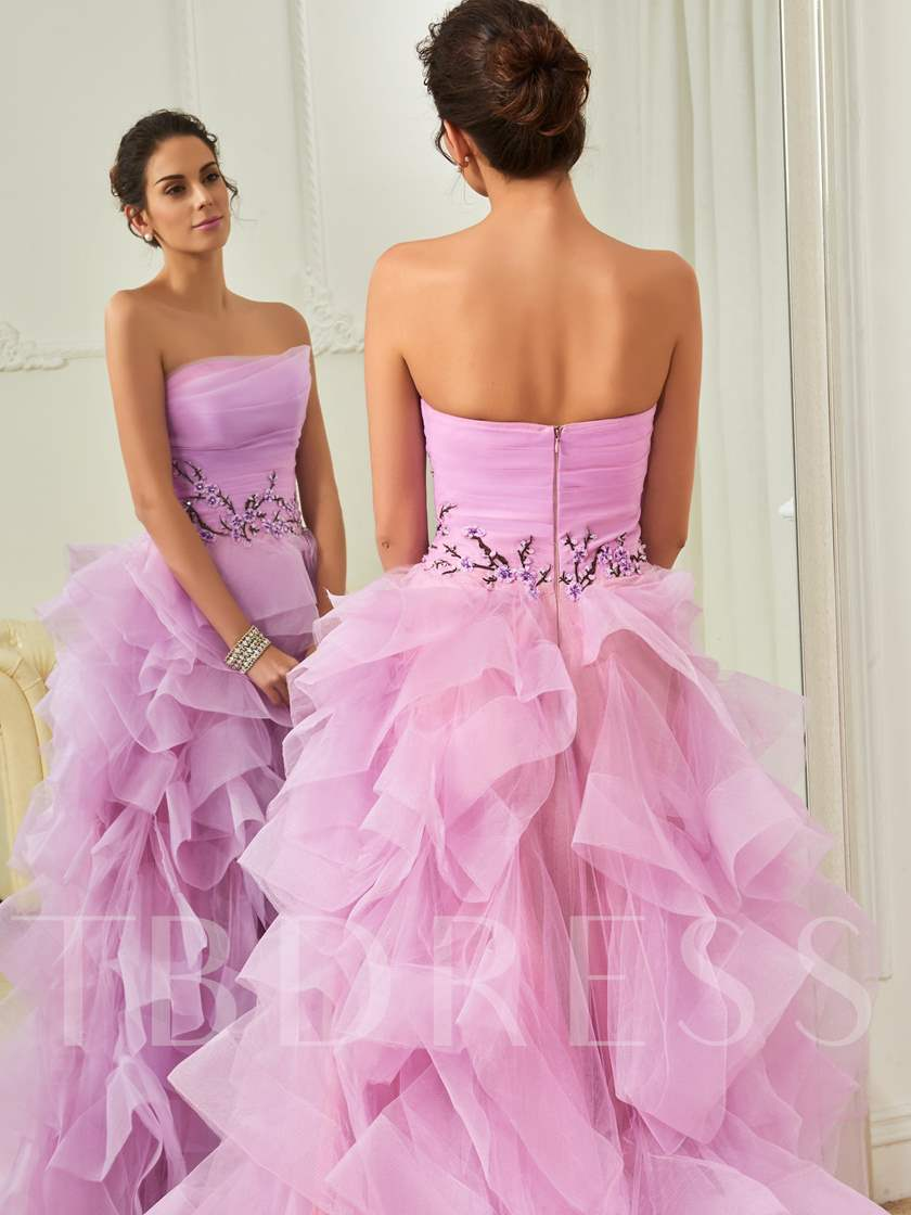 Strapless Ball Gown Ruffles Floor-Length Prom Dress