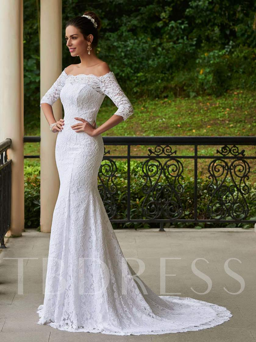 Off the Shoulder Mermaid Lace Wedding Dress with Sleeves