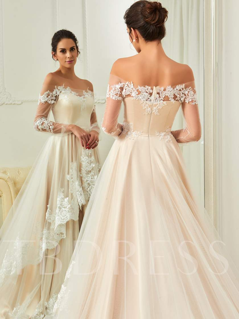 Off the Shoulder Long Sleeves Appliques Tiered Wedding Dress