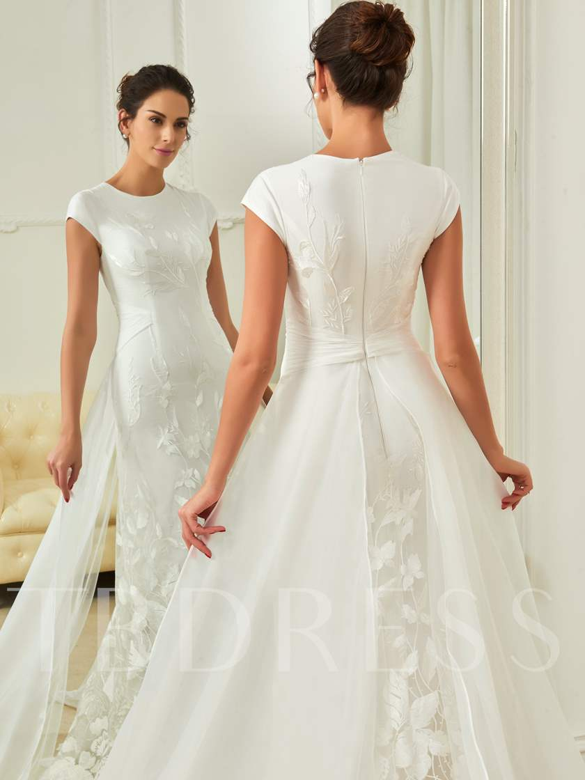 Cap Sleeves Lace Sheath Wedding Dress