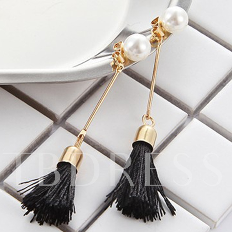 Long Black Pearl Tassels Earrings