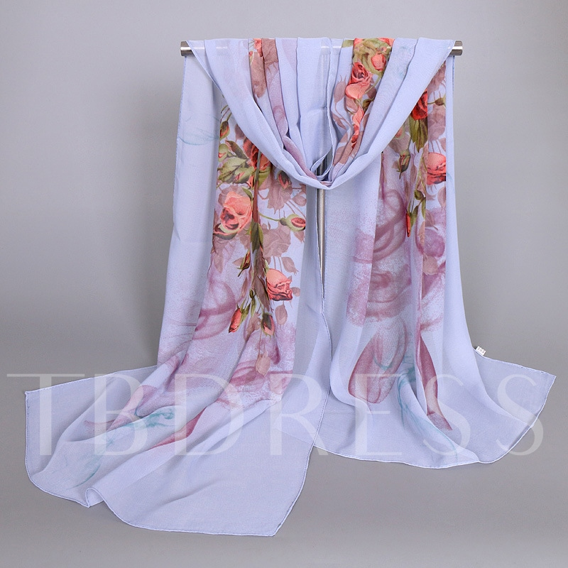 Artistic Rose Printed Women's Chiffon Scarf
