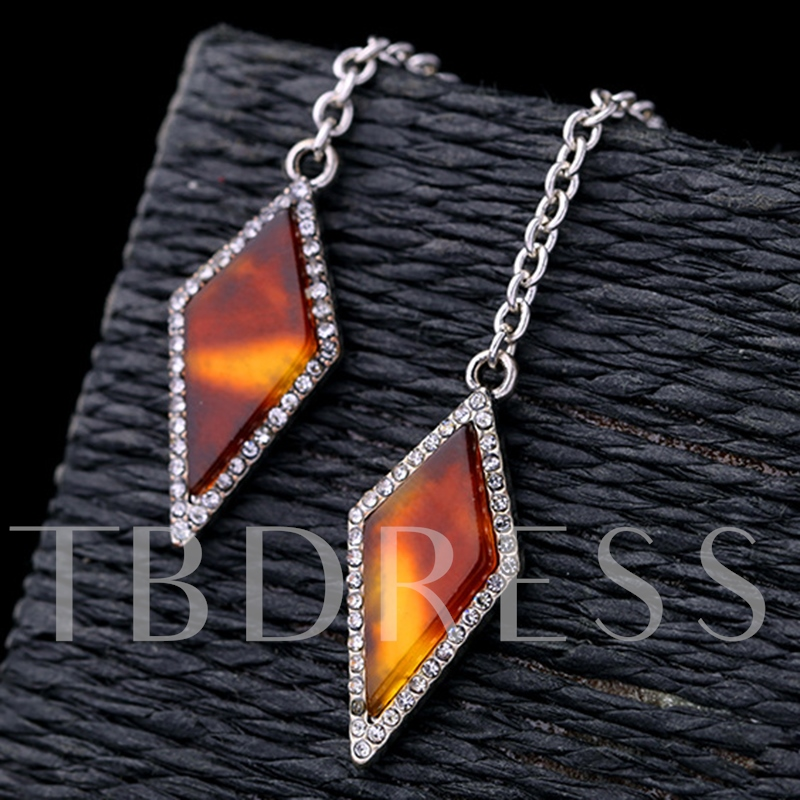 Rhombus Design Synthetic Leopard Gemstone Earrings
