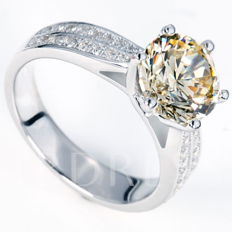 925 Silver Imitation Diamond-Shaped Inlaid Wedding Ring