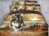 Wolf and Mountain Printed Cotton 4-Piece 3D Bedding Sets/Duvet Covers