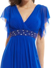 V Neck Zipper-Up Cap Sleeves Beaded Long Evening Dress