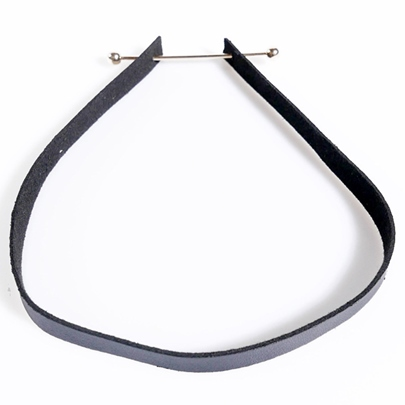 Metal Connection Black Leather Choker Necklace