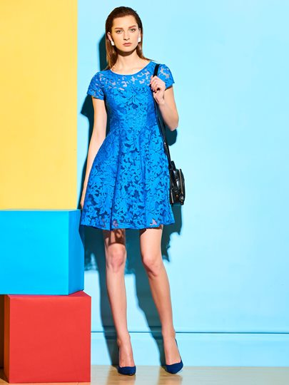Short Sleeve See-Through Women's Lace Dress
