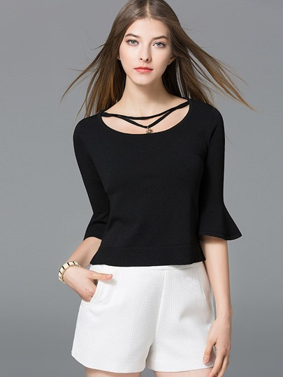 Plain Slim Princess Sleeve Women's Sweater