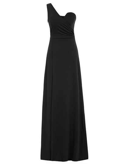 A-Line One-Shoulder Pleats Evening Dress