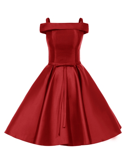 A-Line Bowknot Off-the-Shoulder Draped Cocktail Dress