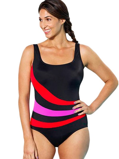 U-Neck Stripe Plus Size One Piece Swimsuit