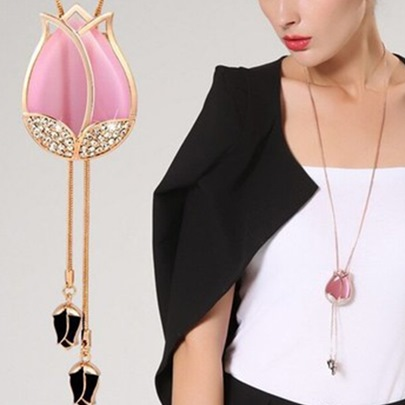 Pink Tulip Pendant Long Tassels Necklace