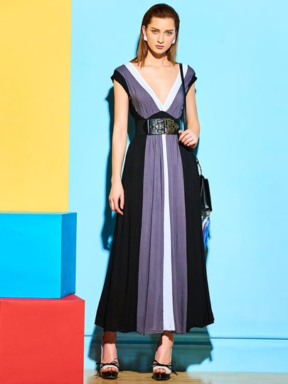 Color Block Long Bohemian Women's Maxi Dress