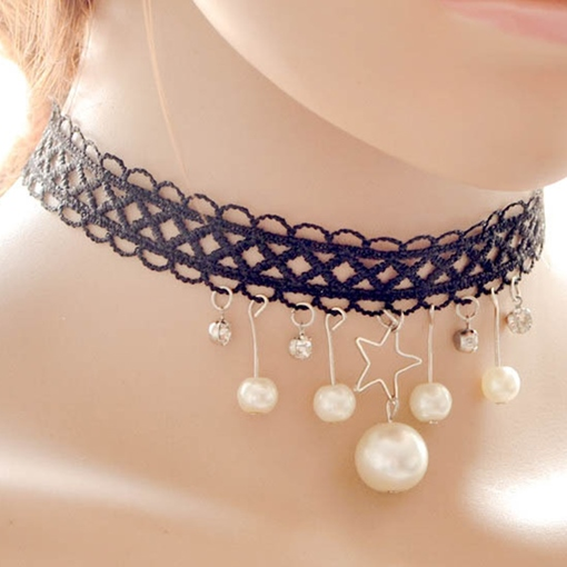 Pearls & Stars Pendant Retro Black Lace Necklace