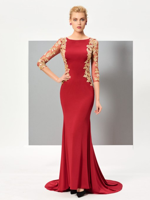 Bateau Neck Sequins Appliques Mermaid Evening Dress