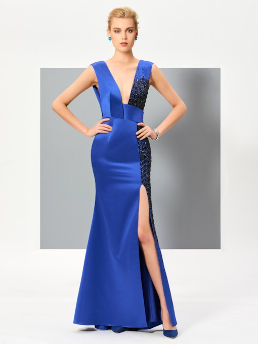 Split-Front Sheath V-Neck Beading Floor-Length Evening Dress