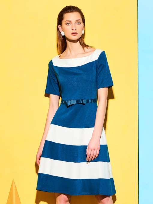 Blue Slash Neck Half Sleeve Stripe Women's Day Dress