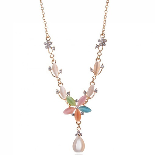 Candy Colored Gemstone Flower Necklace