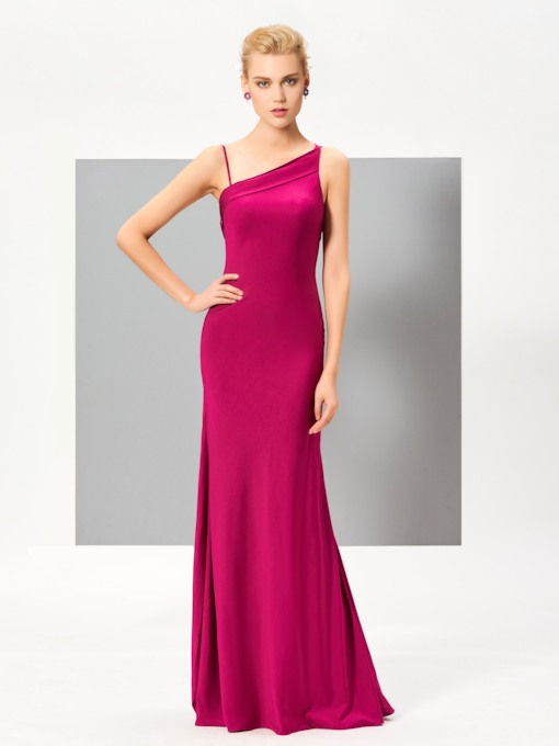 Sheath Spaghetti Straps Ruched Floor-Length Evening Dress
