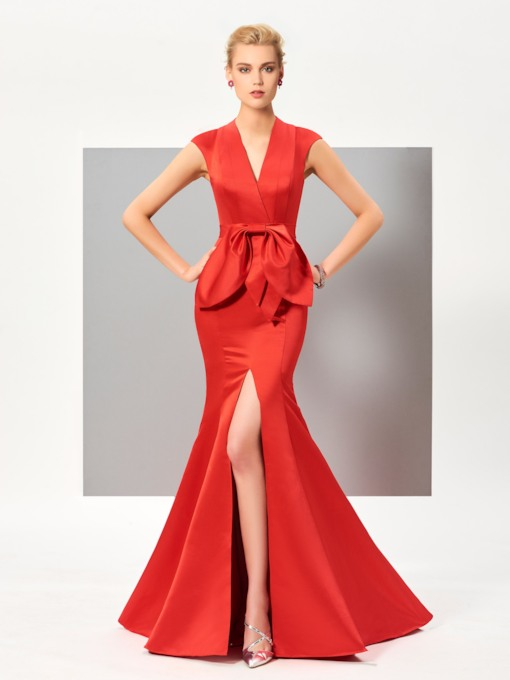 V-Neck Mermaid Cap Sleeves Bowknot Draped Split-Front Evening Dress