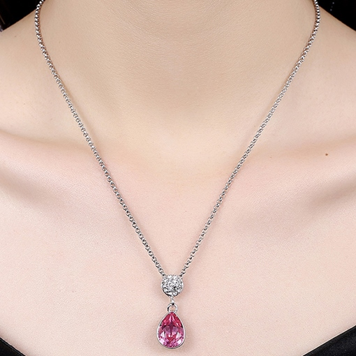 Ultra Violet Water Drop Rhinestone Necklace
