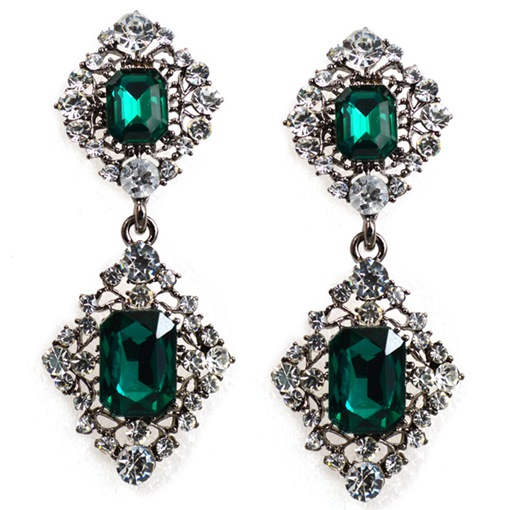 Geometric Green Gemstones Inlaid Earrings