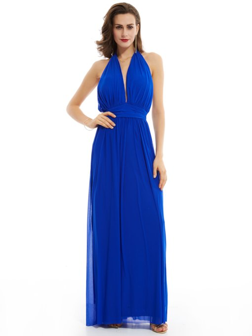 56536294acc Halter Neck Backless A Line Floor-Length Evening Dress