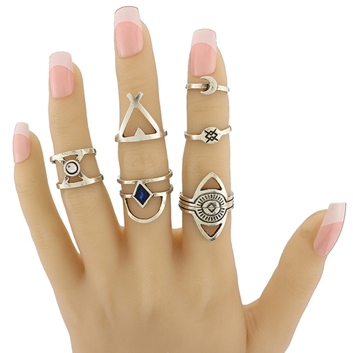 Retro Seven-Pieces Alloy Moon & Geometry Ring Set