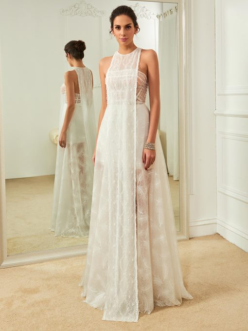 Jewel Neck Lace Sheath Wedding Dress
