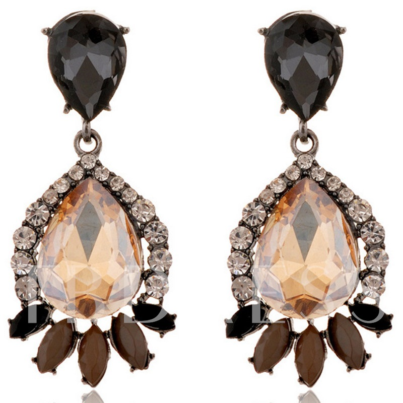 Champagne Water Drop Shaped Gem Earrings