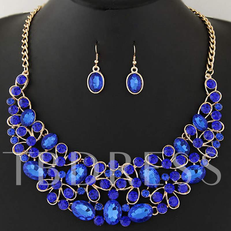 Ellipse Imitation Gemstones Inlaid Jewelry Set