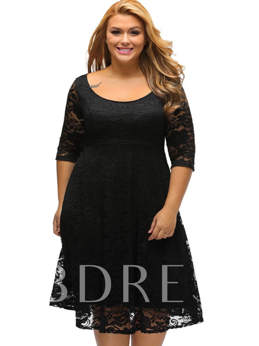 Half Sleeve Plus Size Women's Lace Dress, Plusee, 12734164