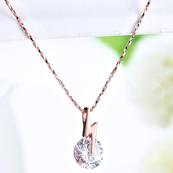 Rose Gold Plated Zircon Pendant Necklace