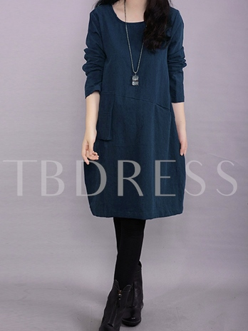 Loose Plain Long Sleeve Women's Day Dress