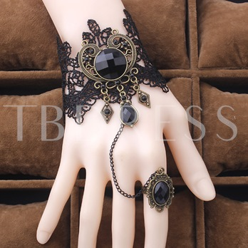 Retro Black Lace Bracelet with Ring