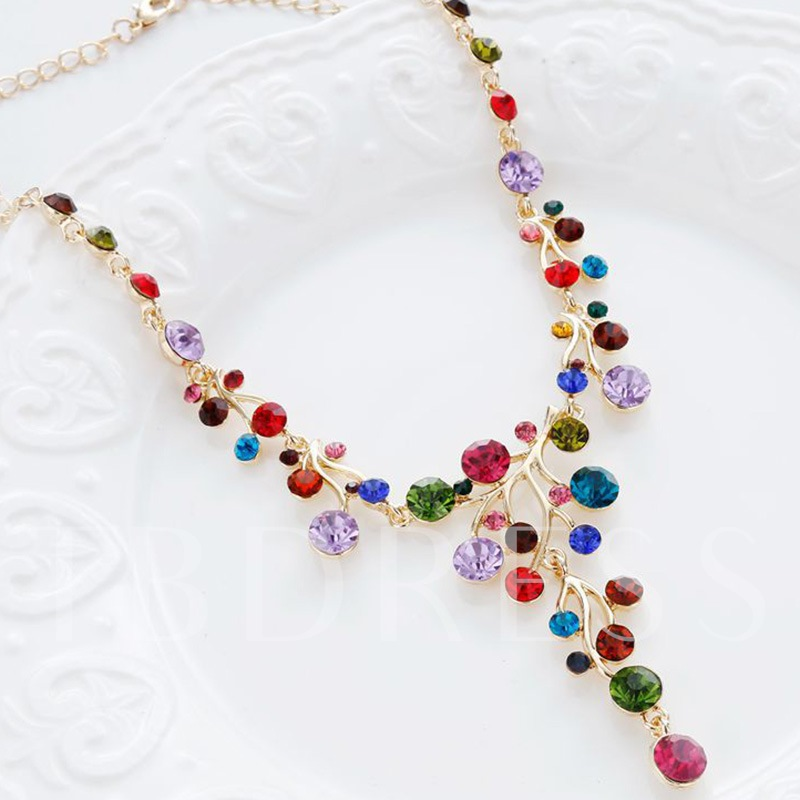 Y-Shaped Colorful Rhinestone Necklace