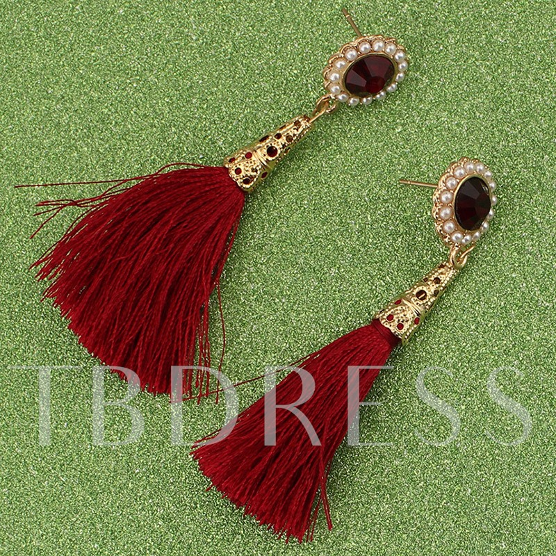 Ethnic Style Cotton Line Tassels Earrings