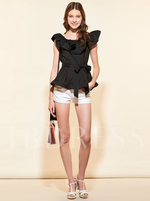 Plain Ruffled Collar Short Sleeve Women's Blouse