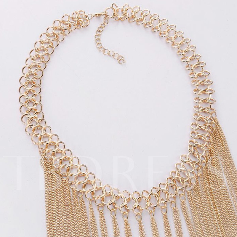 Multilayer Alloy Chain Tassels Necklace