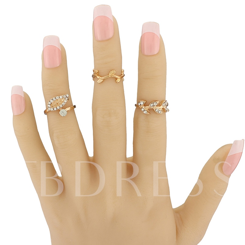 Full Rhinestone Leaf Design Three-Pieces Ring Set