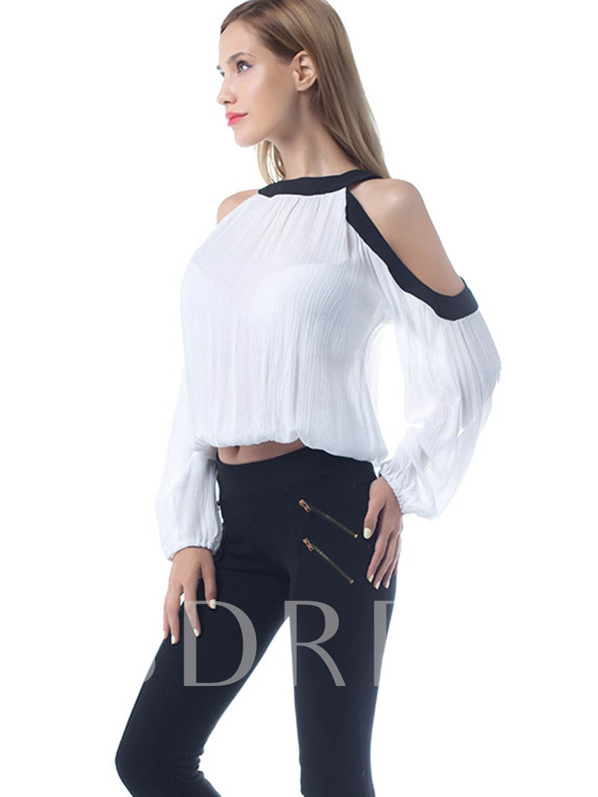 Cold Shoulder Round Neck Loose Women's Blouse