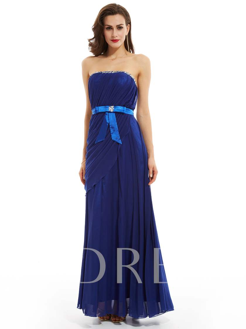 Strapless Beaded Pleats Sheath Evening Dress