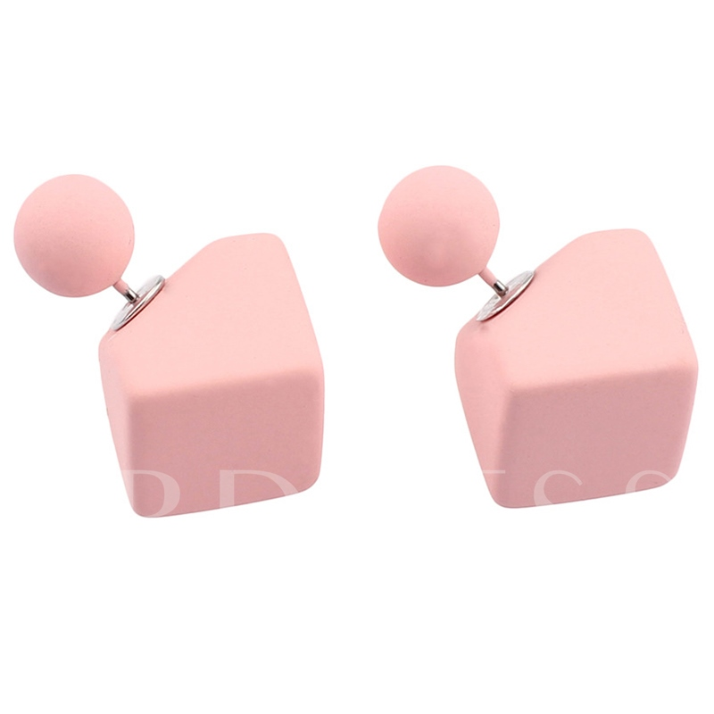 Candy Color Geometric Stud Earrings