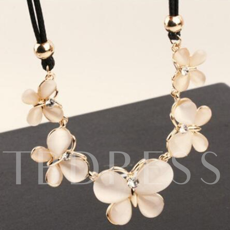 Opal Butterfly Design Black Artificial Leather Necklace