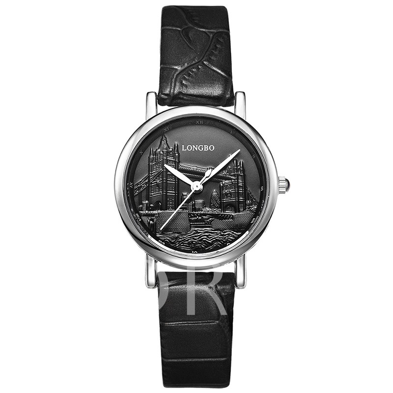 Alloy Dial Black Artificial Leather Band Women's Watch