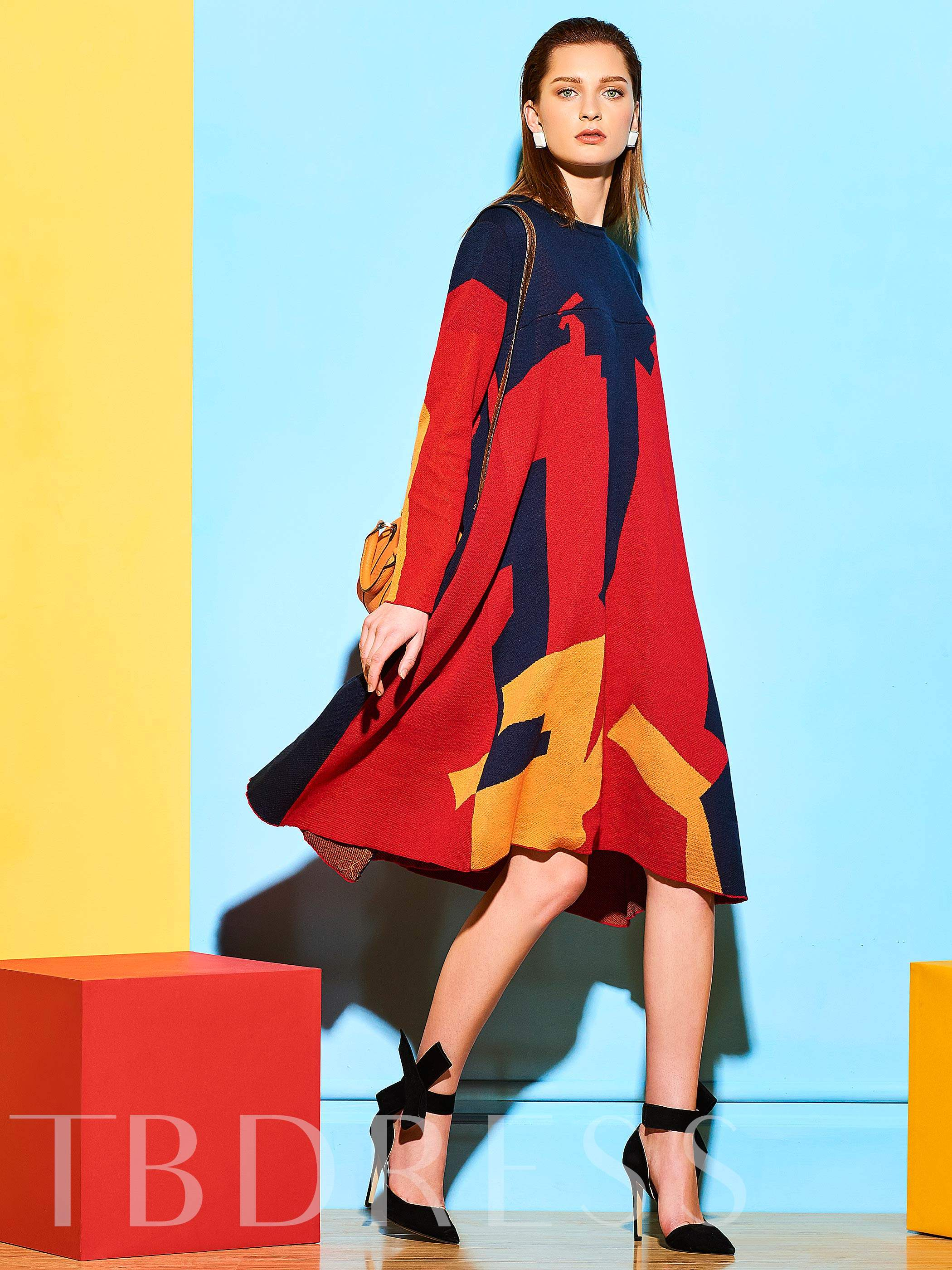 Buy Casual Asymmetrical Color Block Long Sleeve Women's Sweater Dress, Clocolor, Spring,Fall,Winter, 12743340 for $36.99 in TBDress store