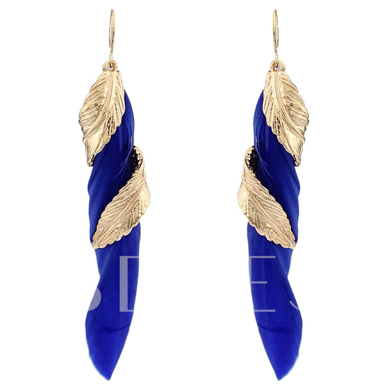 Rotating Leaf Colorful Feather Pendant Earrings