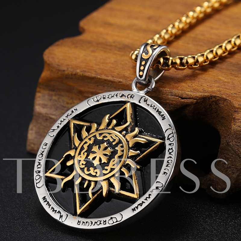 Six Awn Star Totem Design Stainless Steel Men's Necklace